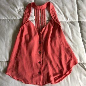 Button down halter/cut pink blouse